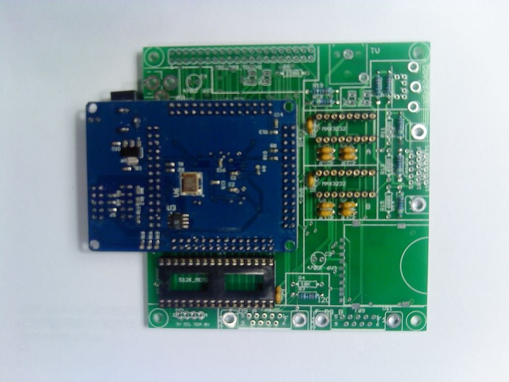 Altera EP2C5T144C8N FPGA Mini-Development PCB tempararily mounted upside down on an interface PCB created just for this purpose.jpeg